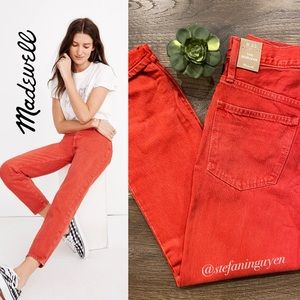 🆕 Madewell Red High Rise Mom Jeans